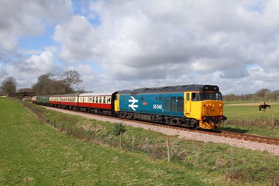 50049 on the 1315 East Grinstead to Sheffield Park at Freshfield on the 1st April 2016