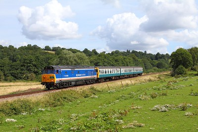 50026+1497 on the 2J09 1115 Tunbridge Wells to Eridge at Pokehill farm on the 6th August 2017
