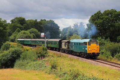 31101 5518 on the 2T14 1330 Eridge to Tunbridge Wells departing Groombridge on the 4th August 2017