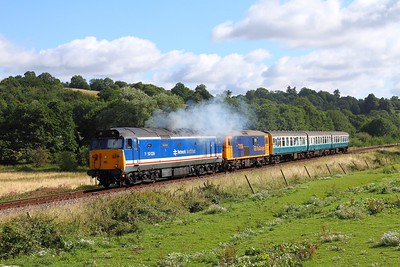 50026+73136+1497 on the 2J05 0910 Tunbridge Wells to Eridge at Pokehill farm on the 4th August 2017