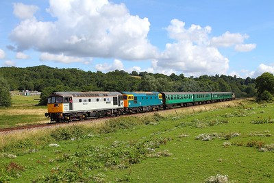 33063+33201 on the 2J07 1030 Tunbridge Wells to Eridge at Pokehill farm on the 6th August 2017