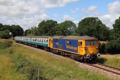 73136+1497 on the 2T08 1115 Eridge to Tunbridge Wells departing Groombridge on the 4th August 2017 2