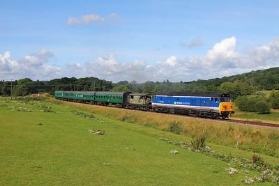 50026 on the 2T04 0945 Eridge to Tunbridge Wells at Pokehill farm on the 6th August 2017