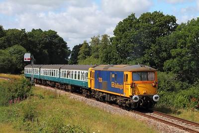 73136+1497 on the 2T08 1115 Eridge to Tunbridge Wells departing Groombridge on the 4th August 2017