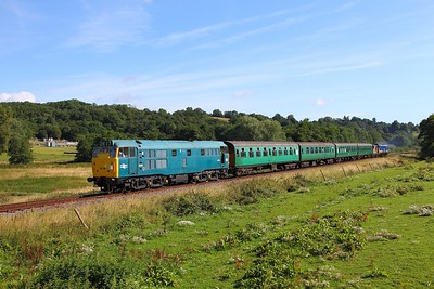 31101 tnt 50026 on the 2J03 0915 Tunbridge Wells to Eridge at Pokehill farm on the 6th August 2017