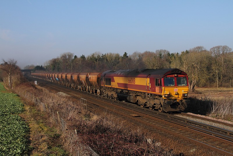 66088 on the 6Y93 Purley to Cliffe east of Tonbridge on the 13th February 2017