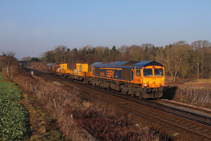 66728+66725 on the 3Y03 Tonbridge West yard to Tonbridge West Yard via Ramsgate east of Tonbridge on the 13th February 2017