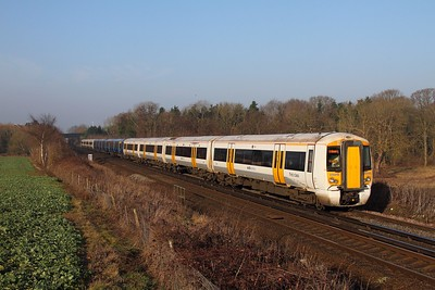 375915+375907+375923 on the 2R18 0836 London Charing Cross to Dover Priory east of Tonbridge on the 13th February 2017