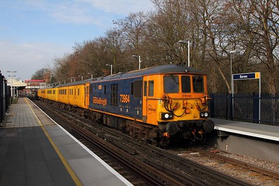73964+73962 on the 1Q75 Derby RTC to Brighton at Barnes on the 6th February 2017
