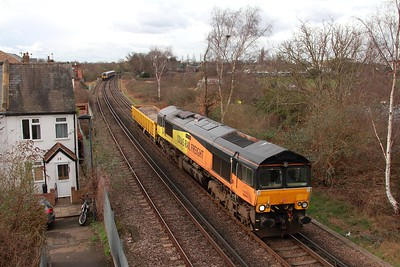 66849 and 503004 on the 6Y48 Eastleigh to Hoo junction at Twickenham junction on the 28th February 2017