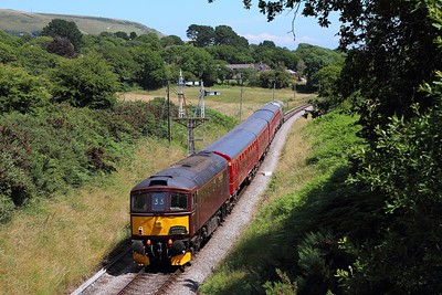 33025 tnt 33012 on the 2Z13 1319 Wareham to Swanage departing Harmans Cross on the 9th July 2017