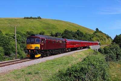 33025 tnt 33012 on the 2Z16 1623 Swanage to Wareham at Corfe on the 9th July 2017