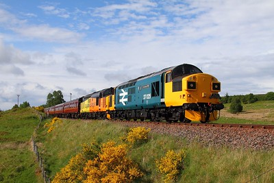 37025+37421 on the 1Z39 Wick to Edinburgh at Lairg on the 3rd June 2017