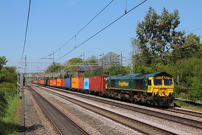 66957 on the 4L46 Lawley Street to Felixstowe at Cathiron on the 10th May 2017