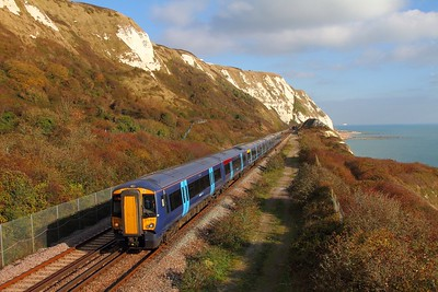 375803+375702 on the 2W42 1258 Dover Priory to London Charing Cross at Capel-le-Ferne on the 2nd November 2017