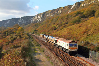 66721 tnt 66719 on the 3W02 Tonbridge West yard circular via Minster at Capel-le-Ferne on the 2nd November 2017