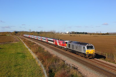 67029+91130 on the 1A19 0905 Leeds to London Kings Cross at Kirkby la Thorpe on the 12th November 2017