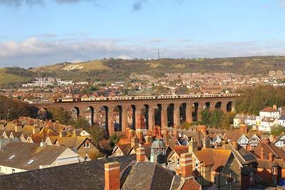 67021 tnt 67024 on the 5Y46 1310 Folkestone West to Folkestone East Train Road at Folkestone viaduct on the 2nd November 2017