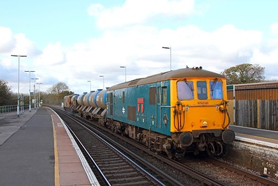 73201 tnt 73213 on the 3W91 Tonbridge West yard circular returning from Bognor Regis at Ford on the 5th November 2017