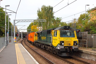 70010 on the 4L52 Garston to London Gateway at Highbury & Islington on the 4th October 2017