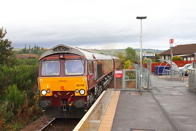 66746 on the 1H81 Kyle of Lochalsh to Boat of Garten passes the shack of Conon Bridge on the 1st October 2017