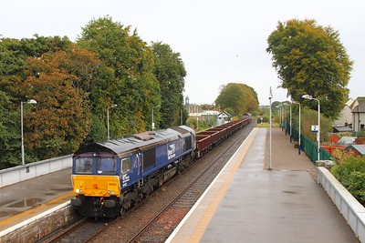 66422 tnt 66423 at Nairn on the 6K50 Elgin to Mossend on the 1st October 2017 1