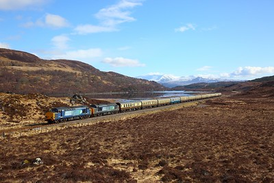 37259+37605 on the 1Z37 Inverness to Kyle of Lochalsh at Loch a'Chuilinn on the 1st April 2018 1