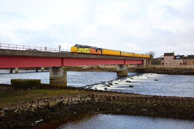 37219+UTU on the 3Q55 0235 Wick (started from Georgemas Junction) to Inverness over Ness viaduct, Inverness on the 2nd April 2018