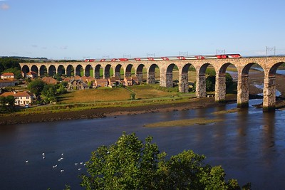 43311+43296 on the 1S03 0708 Leeds to Aberdeen over Royal Borders bridge, Berwick on the 25th August 2018