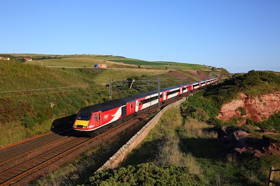 43272+43367 on the 1E05 0730 Edinburgh to London Kings Cross at Berwick upon Tweed on the 25th August 2018