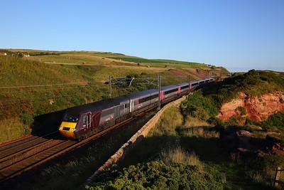 43366+43303 on the 1V52 Edinburgh to Paignton at Lamberton on the 25th August 2018