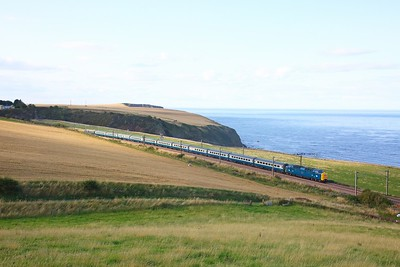 55009 on the Edinburgh to Huddersfield (as far as York) at Burnmouth on the 25th August 2018