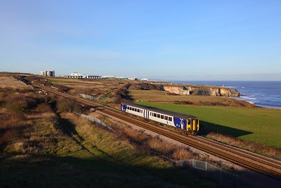 156471 on the 2N22 1157 Hexham to Middlesbrough at Chourdon Point, Hawthorn Hive south of Dawdon on the 10th December 2018
