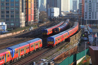 Trains at Nine Elms on the 16th February 2018