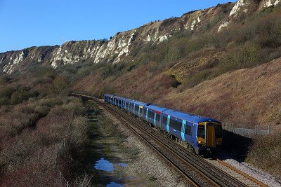 375805+375819 on the 2R24 0940 London Charing Cross to Dover Priory at Capel le Ferne on the 11th February 2018