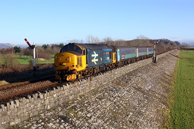 37401 on the 2C47 1004 Preston to Barrow in Furness at Grange over Sands on the 26th January 2018  Class37, DRS, CumbrianCoast