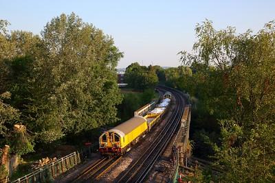 L50+L53 on Train 621 0508 Kennington to Ruislip depot at Park Royal on the 8th July 2018