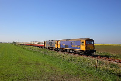 73141+73963 on the 1Z22 1417 Mountfield Sidings to Dungeness at Caldicott Crossing near Lydd on the 5th May 2018