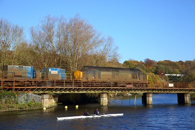The Canoers watch on as 37405 brings up the rear of the 3S01 Stowmarket circular via Cromer RHTT with 37407 leading at Thorpe Bridge on the 13th November 2018