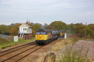 56094+56090 on the 3J89 0500 Stapleford to Toton sandite via Worksop at Creswell on the 20th October 2018