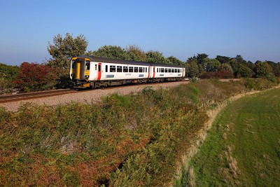 156412 on the 2S14 1045 Norwich to Sheringham at East Runton approaching Cromer on the 10th October 2018