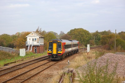 158770 on the 2D08 1038 Worksop to Nottingham at Creswell on the 20th October 2018