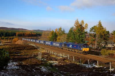 66301 on the 4D47 Inverness to Mossend at Dalwhinnie on the 27th October 2018