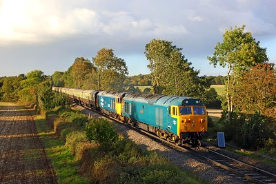 50007+50049 on the 1Z44 Crewe to London Paddington at Kenilworth on the 23rd September 2018