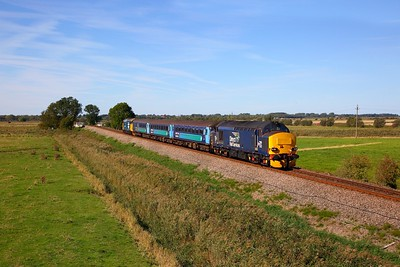 37423 tnt 37409 on the 2P20 1236 Norwich to Great Yarmouth east of Acle on the 24th September 2018