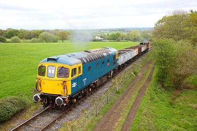 33102 heads up the 1 in 18 incline from Foxfield Colliery during an ERMPS photo charter on the 26th April 2019 1