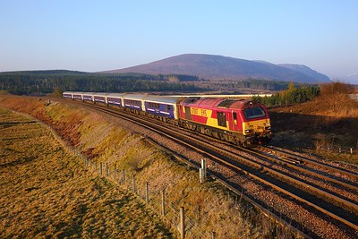67007 on the 1S66 London Kings Cross to Inverness at Dalwhinnie on the 22nd April 2019 1