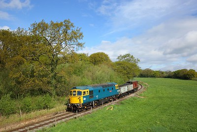 33102 heads towards Foxfield Colliery with a short mineral train on the 26th April 2019