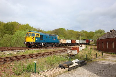 33102 heads towards Foxfield Colliery with a mineral train on the 26th April 2019
