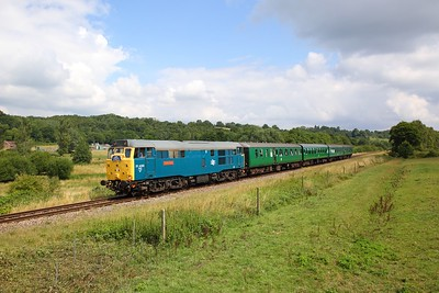 31430 on the 2J09 1145 Tunbridge Wells West to Eridge at Pokehill farm on the 2nd August 2019